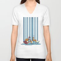 swimming V-neck T-shirts featuring SWIMMING POOL by Ale Giorgini