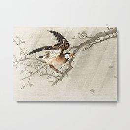 Starling in the storm - Vintage Japanese Woodblock Print Metal Print
