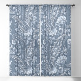 Blue indigo paisley Sheer Curtain