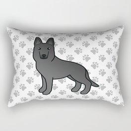 Black German Shepherd Dog Cartoon Illustration Rectangular Pillow