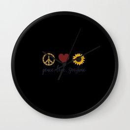 Peace Love Sunshine Gifts Wall Clock
