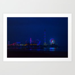 Galveston Pleasure Pier At Night Art Print