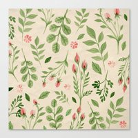 vintage flowers Canvas Prints featuring Vintage Flowers by Blue Daydreamer