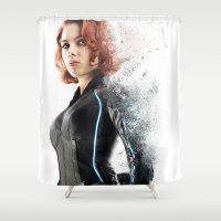 black widow Shower Curtains featuring Black Widow by NKlein Design