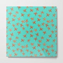 Aqua Starfish Hand-Painted Watercolor Metal Print