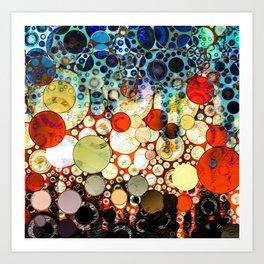 Abstract Retro Blue Orange Bubble Design Art Print