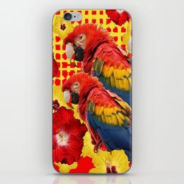 DECORATIVE TROPICAL RED MACAWS & HIBISCUS  FLOWERS iPhone Skin