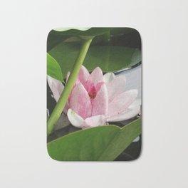 Beautiful White Pink Lotus Bath Mat