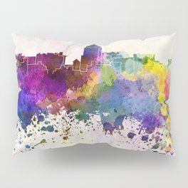 Fresno skyline in watercolor background Pillow Sham