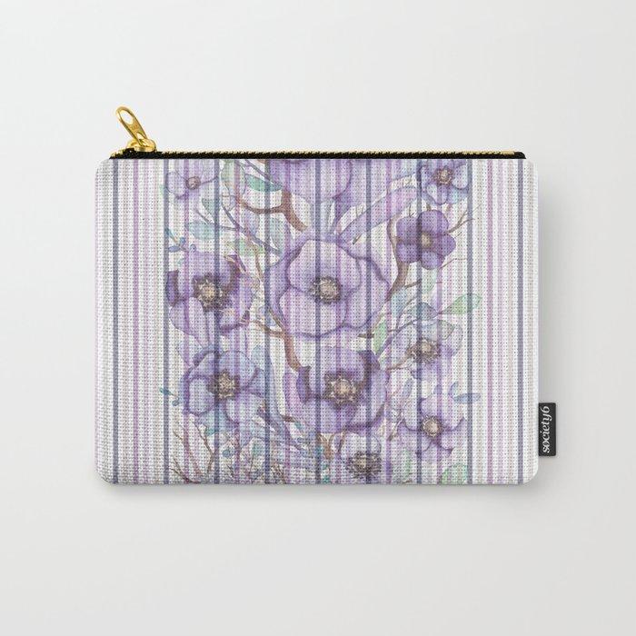 Watercolor purple lavender lilac floral stripes Carry-All Pouch
