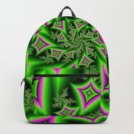 Green And Pink Shapes Fractal Backpack