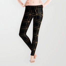 Contemporary Black and Gold Geometric Square Pattern Leggings