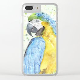 """Watercolor Painting of Picture """"Macaw"""" Clear iPhone Case"""