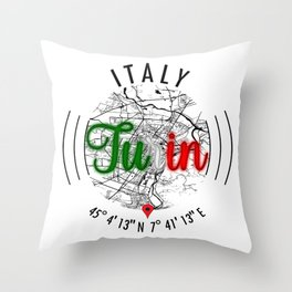 Turin, ITALY Road Map Art - Earth Tones Throw Pillow