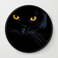 black cat Wall Clocks featuring Black cat by Vlad&Lyubov