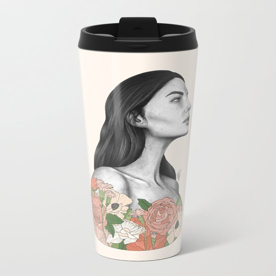 Blushing Blossoms Metal Travel Mug