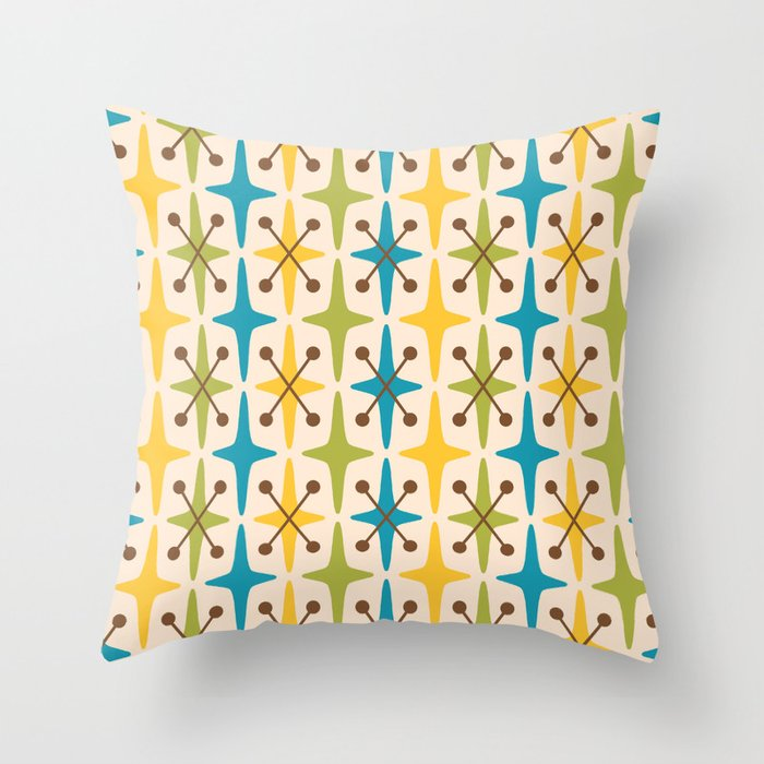 Mid Century Modern Abstract Star Pattern 441 Yellow Brown Turquoise Chartreuse Throw Pillow