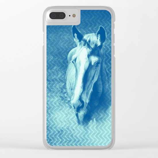 Horse emerging from the blue mist Clear iPhone Case