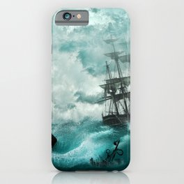 Spectacular Medieval Frigate Sail Ship Stormy Ocean Waves Ultra HD iPhone Case