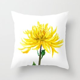 one yellow chrysanthemum Throw Pillow