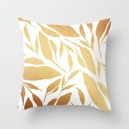 Leafy Vibes (Gold&White) Throw Pillow