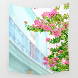 Colonial Havana Architecture with Pink Bougainvillea Wall Tapestry