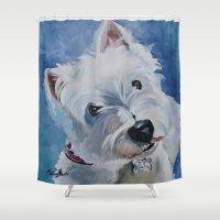 westie Shower Curtains featuring Westie Named Tavin by Karren Garces Pet Art