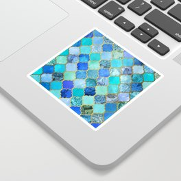Cobalt Blue, Aqua & Gold Decorative Moroccan Tile Pattern Sticker