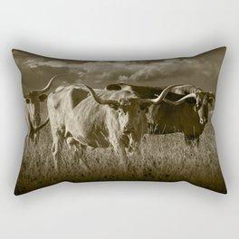 Sepia Tone of Texas Longhorn Steers under a Cloudy Sky Rectangular Pillow