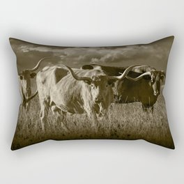 Sepia Tone of Texas Longhorn Steers under a Cloudy Sky Rectangular Pillow