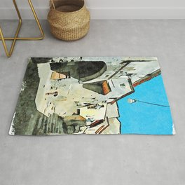Foreshortening old town with city gate Rug