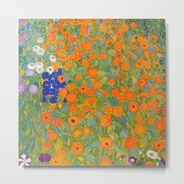 Floral Garden with Orange Flower by Gustav Klimt Metal Print