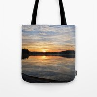 minnesota Tote Bags featuring Minnesota Sunrise by Heartland Photography By SJW