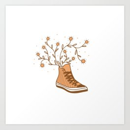 Converse All Star and Flowers Art Print