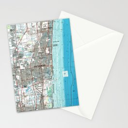 Fort Lauderdale Florida Map (1985) Stationery Cards