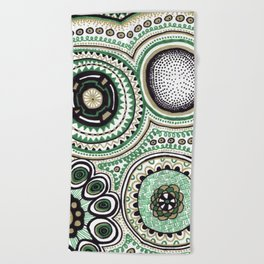 Green and Gold Rings Beach Towel