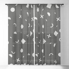 Black & White Memphis Pattern Sheer Curtain
