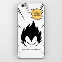 dragonball iPhone & iPod Skins featuring IT'S OVER 9000 (Dragonball, Vegeta)  by SOULTHROW