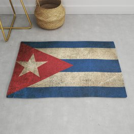 Old and Worn Distressed Vintage Flag of Cuba Rug