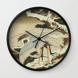 hokusai – two crane on a pine -bird,beak,plum,nature Wall Clock