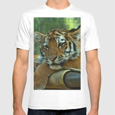 Baby Tiger White Mens Fitted Tee MEDIUM