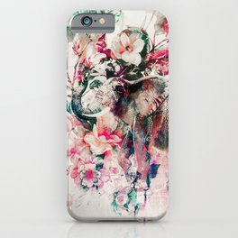 Watercolor Elephant and Flowers iPhone Case