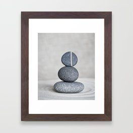 Zen cairn pebble stone balance grey Framed Art Print