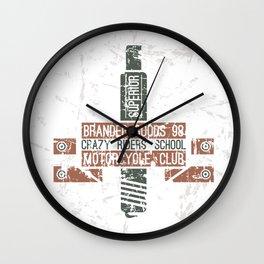 Emblem racing club in retro style Wall Clock