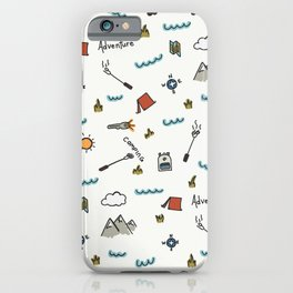 Adventure Pattern | Camping Pattern | Hiking Pattern | Hand Drawn Outdoors Pattern iPhone Case