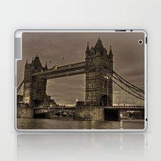 Tower bridge in sepia Laptop & iPad Skin