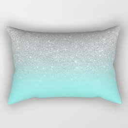 Modern girly faux silver glitter ombre teal ocean color bock Rectangular Pillow