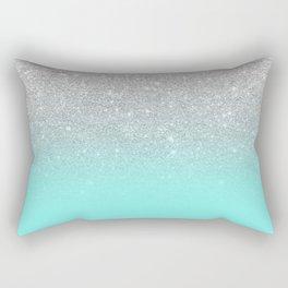 Modern girly faux silver glitter ombre teal ocean color bock Rectangular Pillow