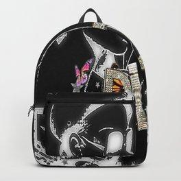 Luxury Fashion Bling Collage Black on White Backpack