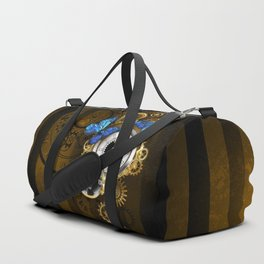 Silver Watches with Blue Butterflies ( Steampunk ) Duffle Bag